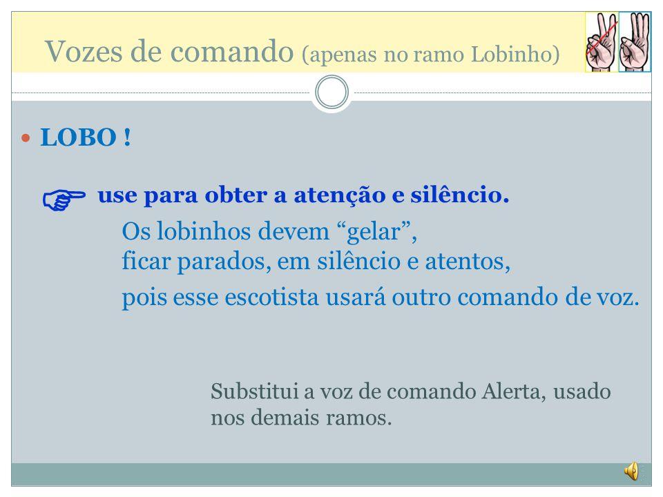Vozes de comando (apenas no ramo Lobinho) LOBO .use para obter a atenção e silêncio.