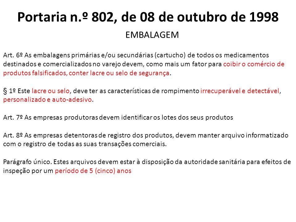 Art. 6º As embalagens primárias e/ou secundárias (cartucho) de todos os medicamentos destinados e comercializados no varejo devem, como mais um fator