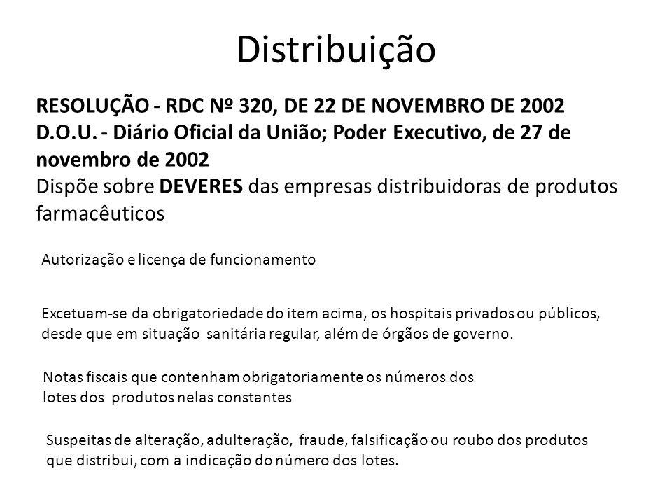 Distribuição RESOLUÇÃO - RDC Nº 320, DE 22 DE NOVEMBRO DE 2002 D.O.U. - Diário Oficial da União; Poder Executivo, de 27 de novembro de 2002 Dispõe sob
