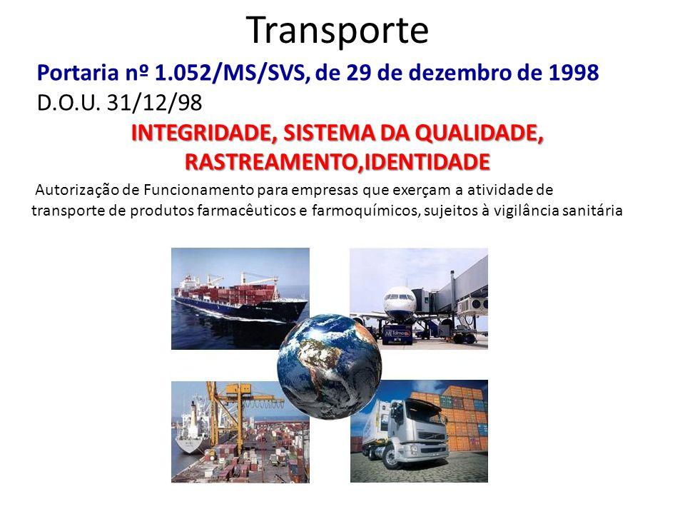 Transporte Portaria nº 1.052/MS/SVS, de 29 de dezembro de 1998 D.O.U. 31/12/98 INTEGRIDADE, SISTEMA DA QUALIDADE, RASTREAMENTO,IDENTIDADE Autorização