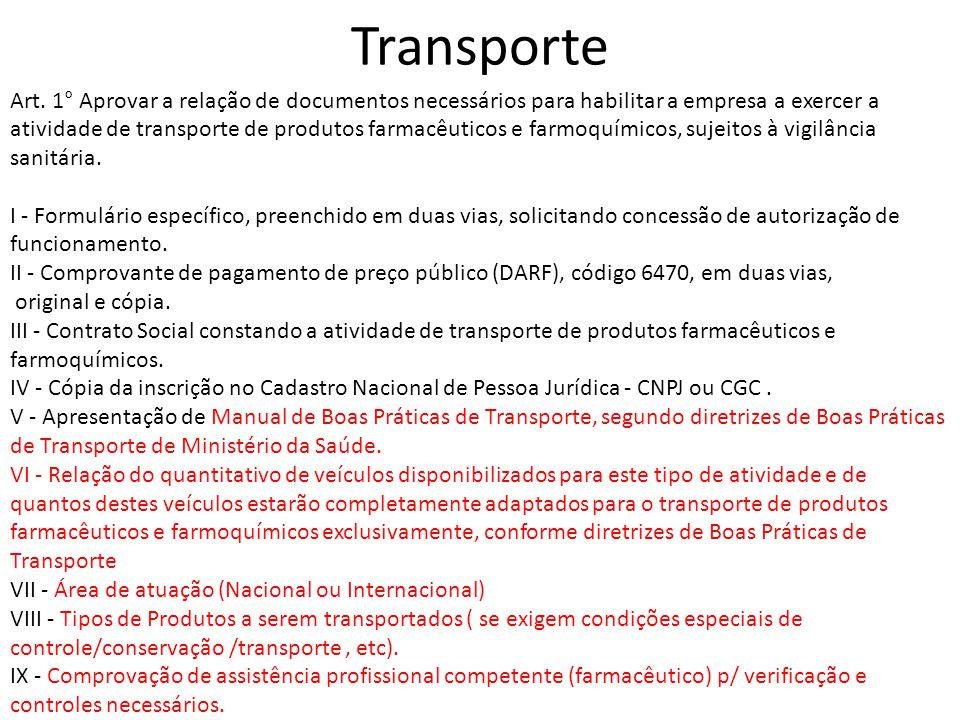 Transporte Art. 1° Aprovar a relação de documentos necessários para habilitar a empresa a exercer a atividade de transporte de produtos farmacêuticos