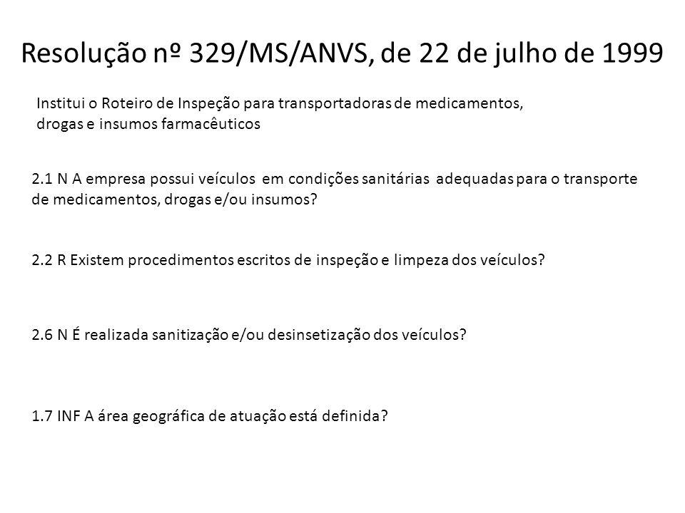 Resolução nº 329/MS/ANVS, de 22 de julho de 1999 Institui o Roteiro de Inspeção para transportadoras de medicamentos, drogas e insumos farmacêuticos 2