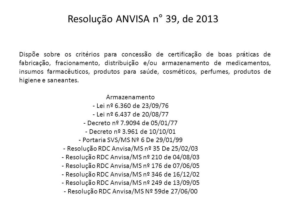 Resolução ANVISA n° 39, de 2013 Dispõe sobre os critérios para concessão de certificação de boas práticas de fabricação, fracionamento, distribuição e
