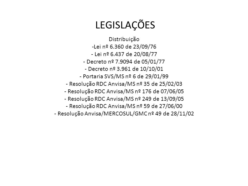 Distribuição -Lei nº 6.360 de 23/09/76 - Lei nº 6.437 de 20/08/77 - Decreto nº 7.9094 de 05/01/77 - Decreto nº 3.961 de 10/10/01 - Portaria SVS/MS nº