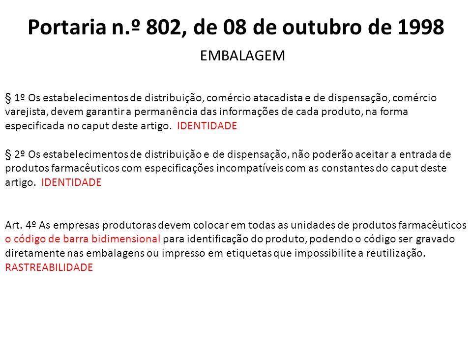 Portaria n.º 802, de 08 de outubro de 1998 § 1º Os estabelecimentos de distribuição, comércio atacadista e de dispensação, comércio varejista, devem g