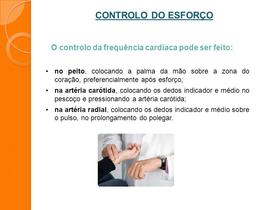 O controlo da frequência cardíaca pode ser feito: no peito, colocando a palma da mão sobre a zona do coração, preferencialmente após esforço; na artér