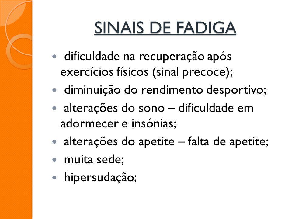 SINAIS DE FADIGA dificuldade na recuperação após exercícios físicos (sinal precoce); diminuição do rendimento desportivo; alterações do sono – dificul