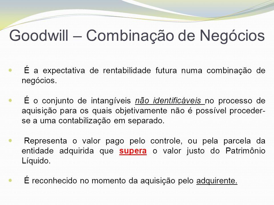 Goodwill – Combinação de Negócios É a expectativa de rentabilidade futura numa combinação de negócios. É o conjunto de intangíveis não identificáveis