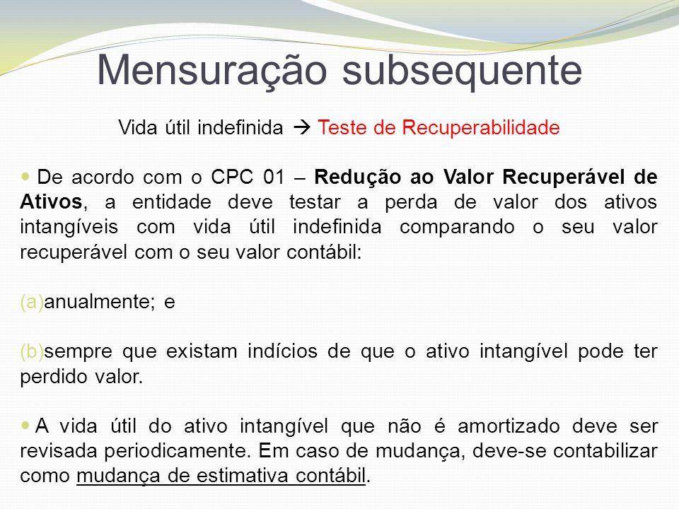 Mensuração subsequente Vida útil indefinida  Teste de Recuperabilidade De acordo com o CPC 01 – Redução ao Valor Recuperável de Ativos, a entidade de