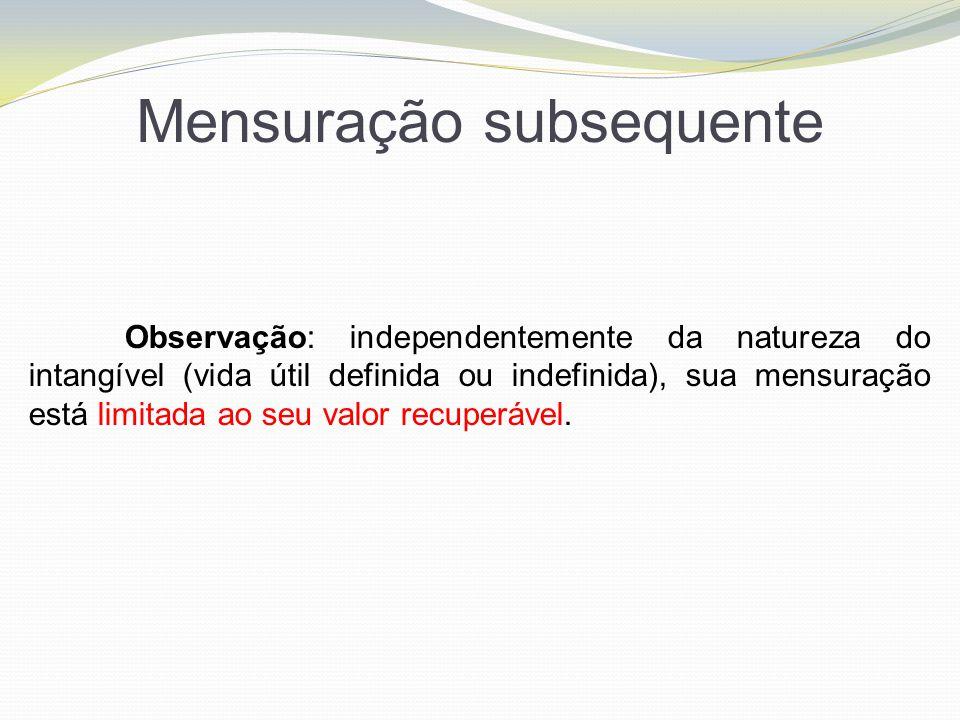 Mensuração subsequente Observação: independentemente da natureza do intangível (vida útil definida ou indefinida), sua mensuração está limitada ao seu