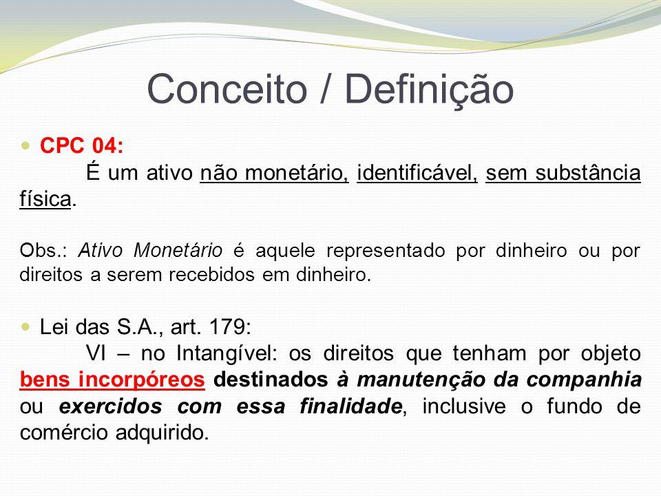 Conceito / Definição CPC 04: É um ativo não monetário, identificável, sem substância física. Obs.: Ativo Monetário é aquele representado por dinheiro