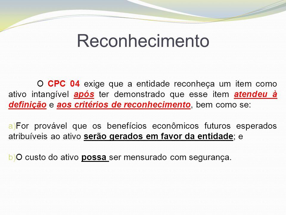 Reconhecimento O CPC 04 exige que a entidade reconheça um item como ativo intangível após ter demonstrado que esse item atendeu à definição e aos crit