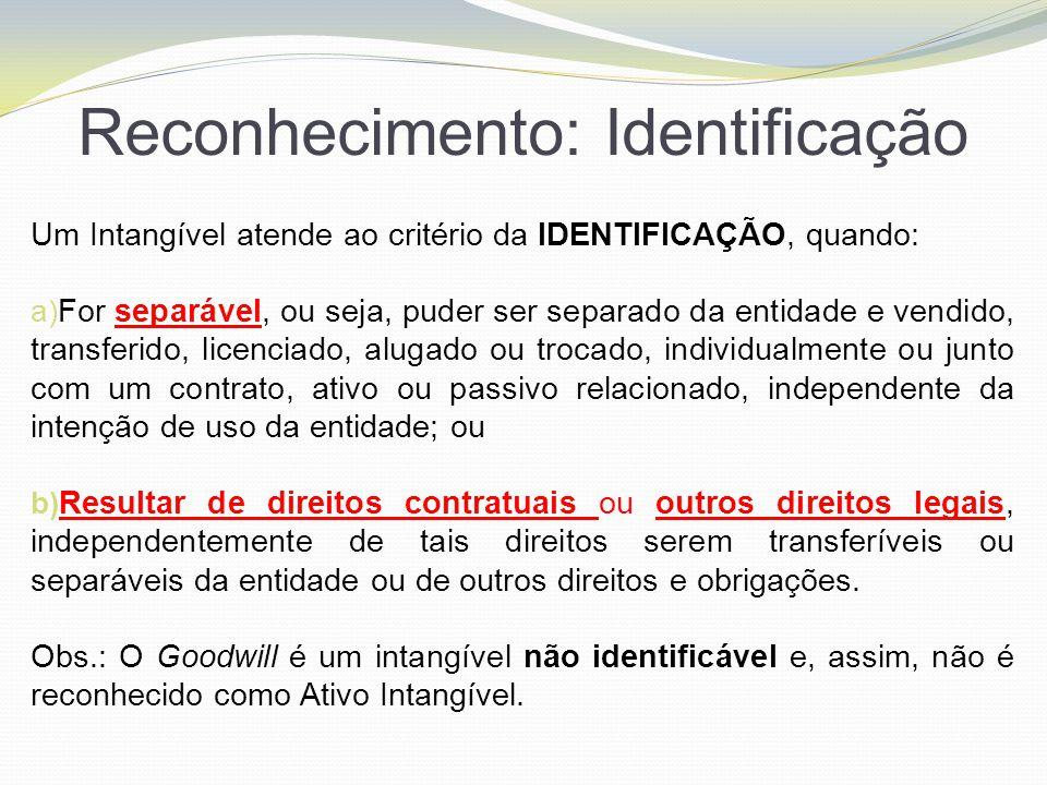 Reconhecimento: Identificação Um Intangível atende ao critério da IDENTIFICAÇÃO, quando: a) For separável, ou seja, puder ser separado da entidade e v