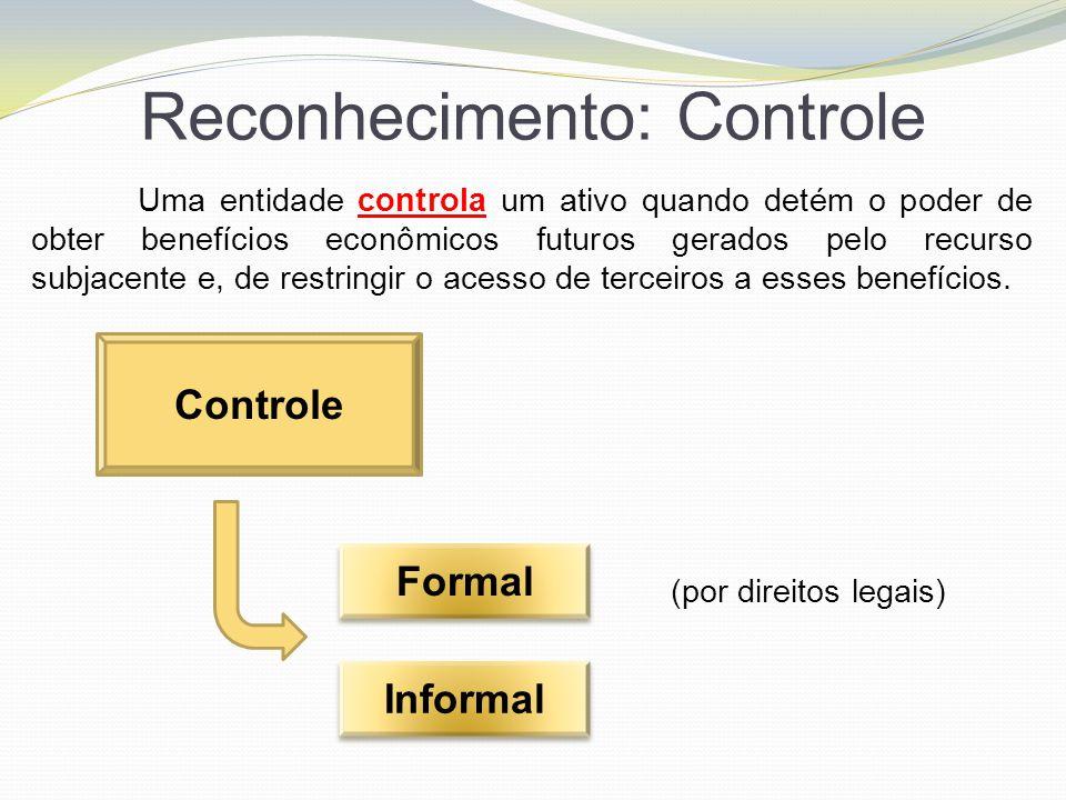 Reconhecimento: Controle Uma entidade controla um ativo quando detém o poder de obter benefícios econômicos futuros gerados pelo recurso subjacente e,