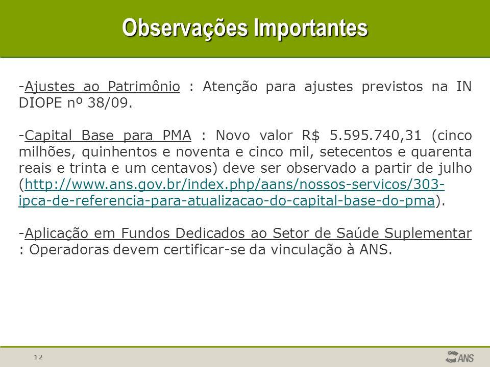 12 Observações Importantes -Ajustes ao Patrimônio : Atenção para ajustes previstos na IN DIOPE nº 38/09. -Capital Base para PMA : Novo valor R$ 5.595.