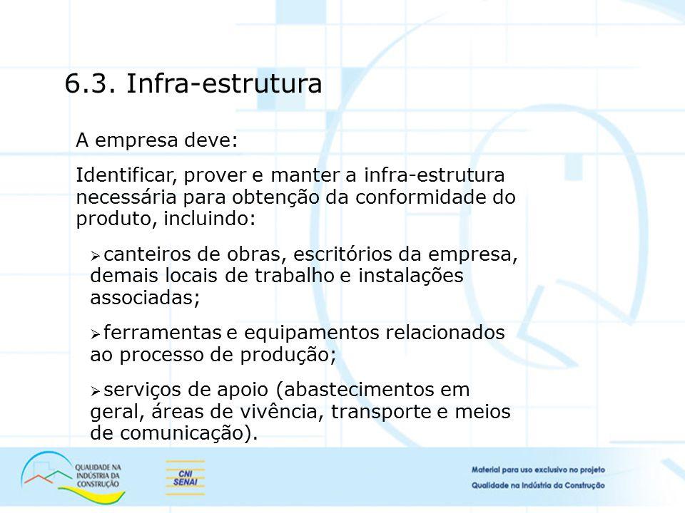 6.3. Infra-estrutura A empresa deve: Identificar, prover e manter a infra-estrutura necessária para obtenção da conformidade do produto, incluindo: 
