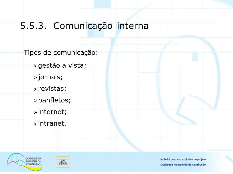 5.5.3. Comunicação interna Tipos de comunicação:  gestão a vista;  jornais;  revistas;  panfletos;  internet;  intranet.