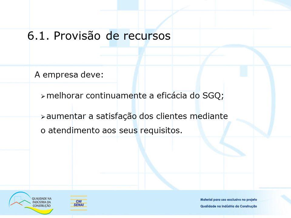 6.1. Provisão de recursos A empresa deve:  melhorar continuamente a eficácia do SGQ;  aumentar a satisfação dos clientes mediante o atendimento aos