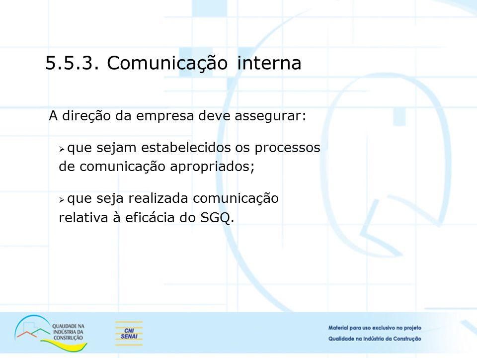 5.5.3. Comunicação interna A direção da empresa deve assegurar:  que sejam estabelecidos os processos de comunicação apropriados;  que seja realizad