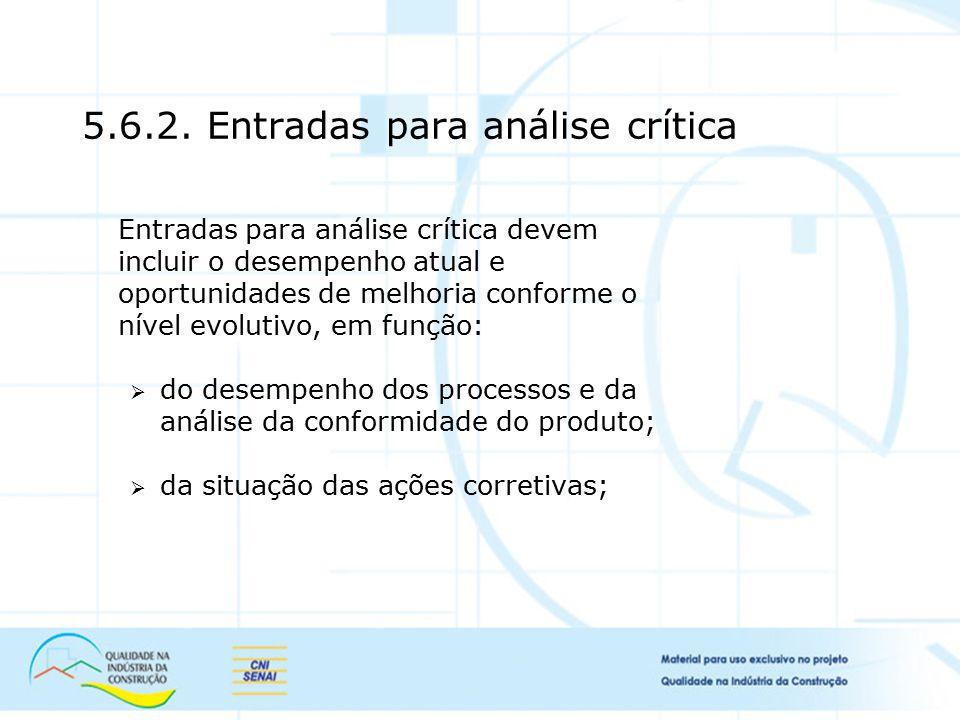 5.6.2. Entradas para análise crítica Entradas para análise crítica devem incluir o desempenho atual e oportunidades de melhoria conforme o nível evolu