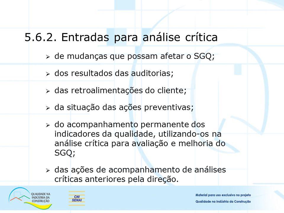 5.6.2. Entradas para análise crítica  de mudanças que possam afetar o SGQ;  dos resultados das auditorias;  das retroalimentações do cliente;  da