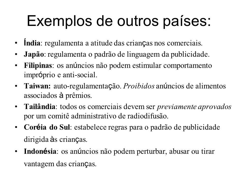 Exemplos de outros países: Í ndia: regulamenta a atitude das crian ç as nos comerciais.