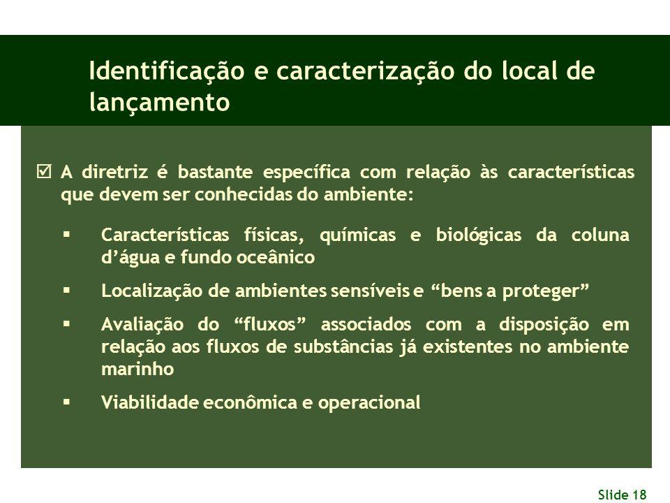 Slide 18 Identificação e caracterização do local de lançamento  A diretriz é bastante específica com relação às características que devem ser conheci