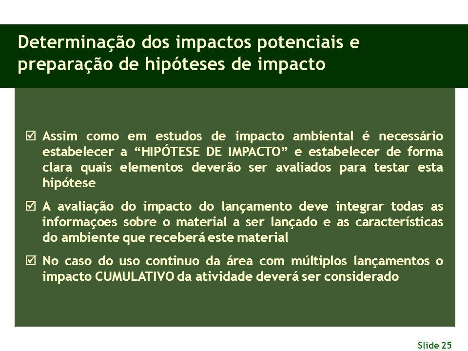Slide 25 Determinação dos impactos potenciais e preparação de hipóteses de impacto  Assim como em estudos de impacto ambiental é necessário estabelec