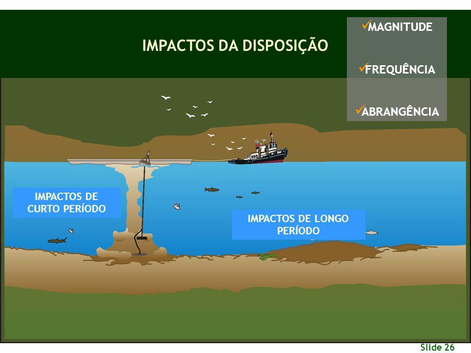 Slide 26 IMPACTOS DA DISPOSIÇÃO IMPACTOS DE CURTO PERÍODO IMPACTOS DE LONGO PERÍODO M AGNITUDE F REQUÊNCIA A BRANGÊNCIA