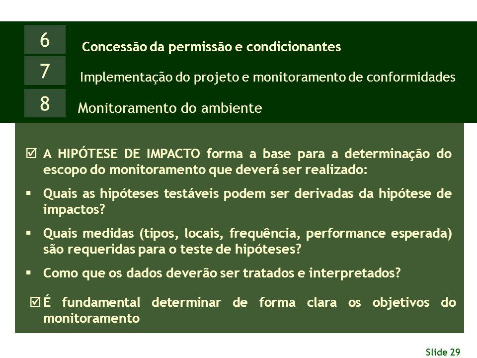 Slide 29 6 Monitoramento do ambiente Concessão da permissão e condicionantes 7 Implementação do projeto e monitoramento de conformidades 8  A HIPÓTES