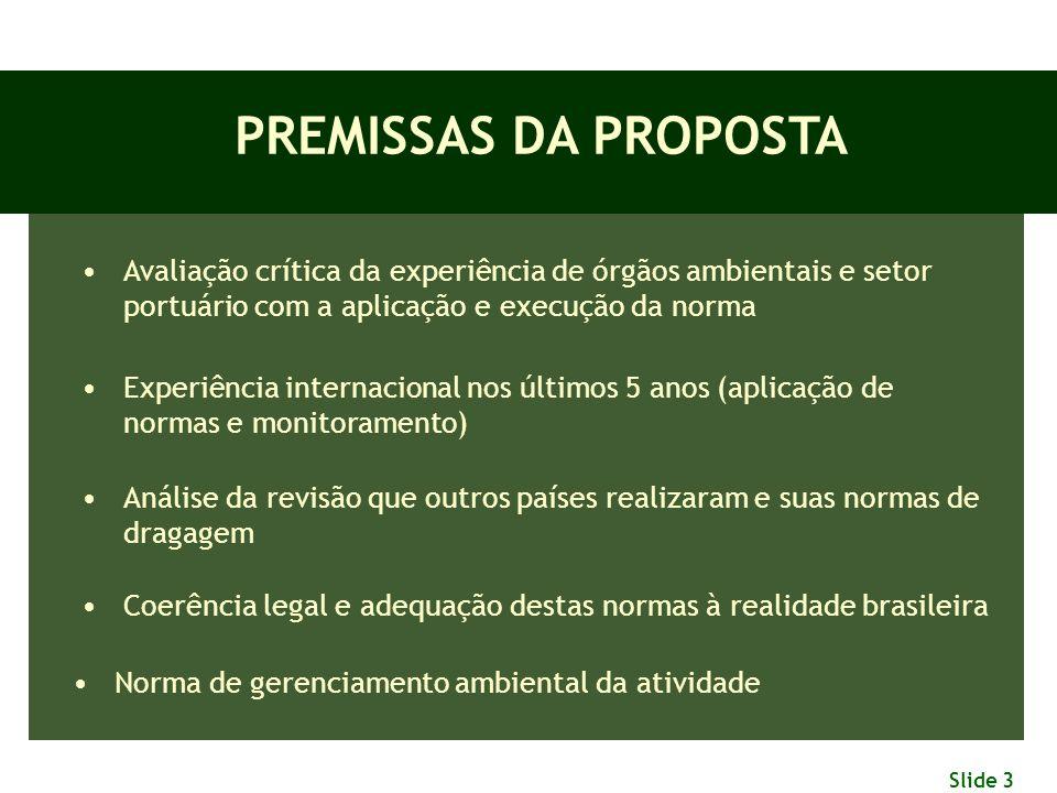 Slide 3 PREMISSAS DA PROPOSTA Avaliação crítica da experiência de órgãos ambientais e setor portuário com a aplicação e execução da norma Experiência