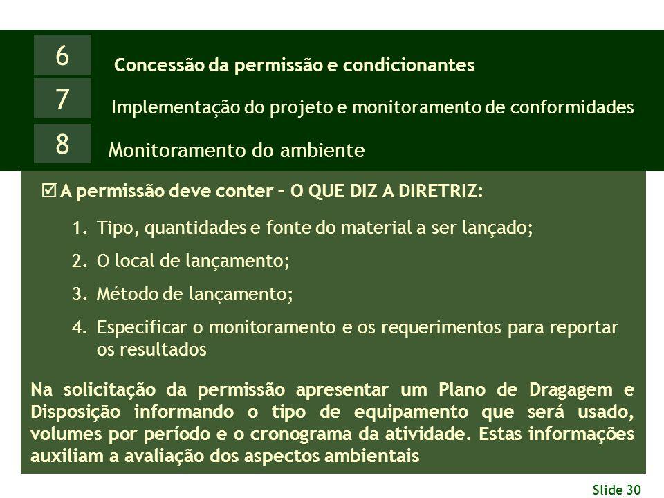Slide 30 6 Monitoramento do ambiente Concessão da permissão e condicionantes 7 Implementação do projeto e monitoramento de conformidades 8  A permiss