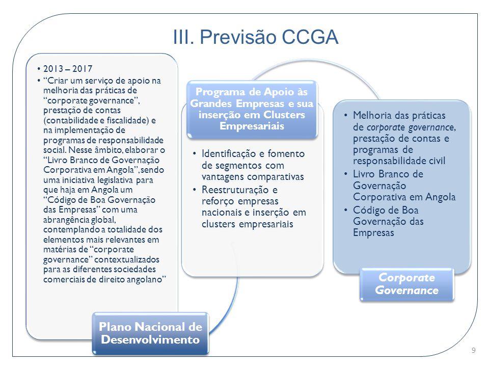 """III. Previsão CCGA 2013 – 2017 """"Criar um serviço de apoio na melhoria das práticas de """"corporate governance"""", prestação de contas (contabilidade e fis"""