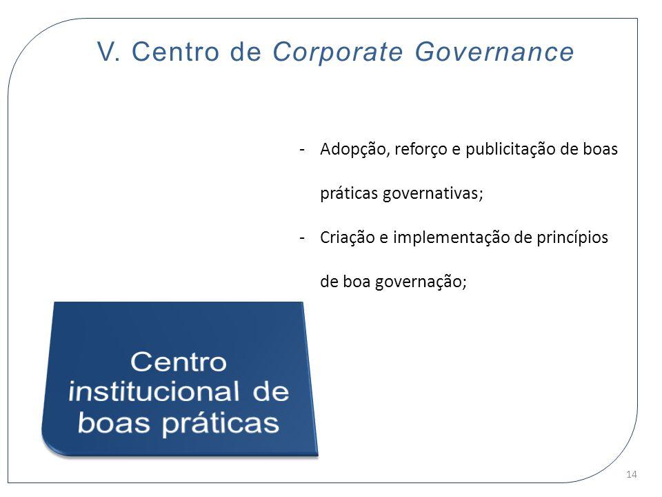 V. Centro de Corporate Governance -Adopção, reforço e publicitação de boas práticas governativas; -Criação e implementação de princípios de boa govern