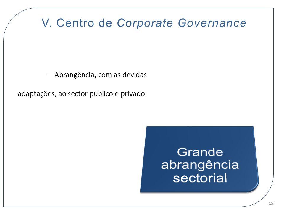 V. Centro de Corporate Governance -Abrangência, com as devidas adaptações, ao sector público e privado. 15