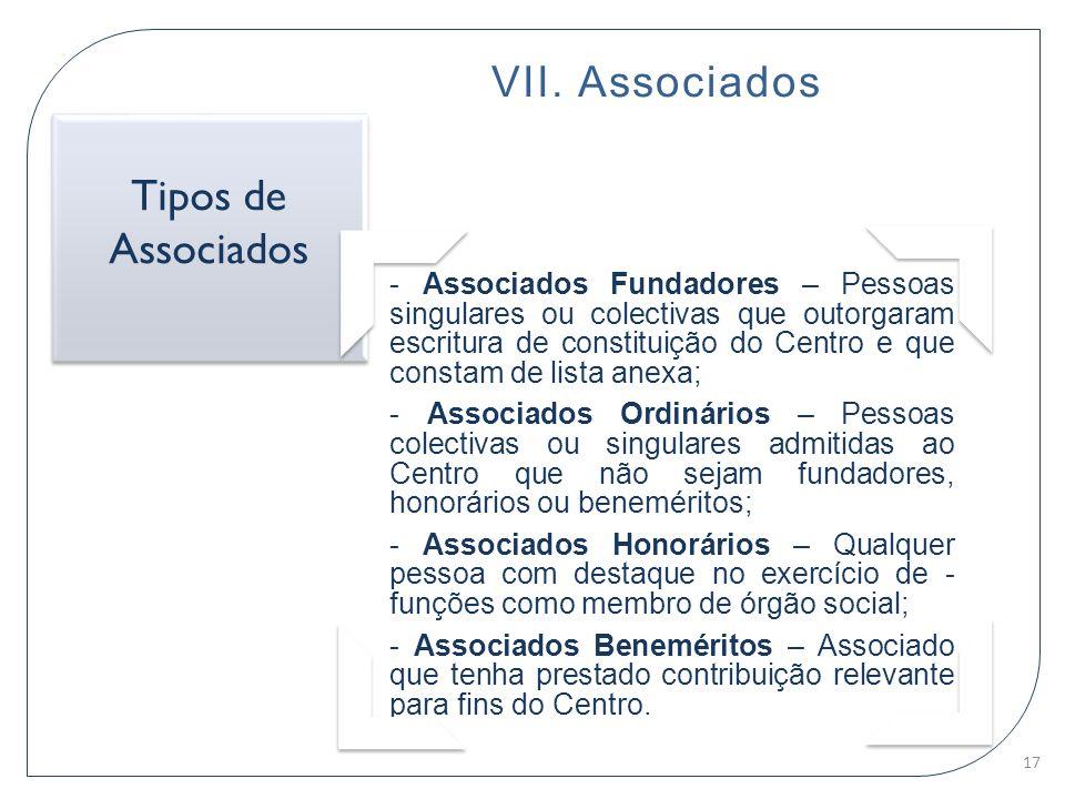 VII. Associados - Associados Fundadores – Pessoas singulares ou colectivas que outorgaram escritura de constituição do Centro e que constam de lista a