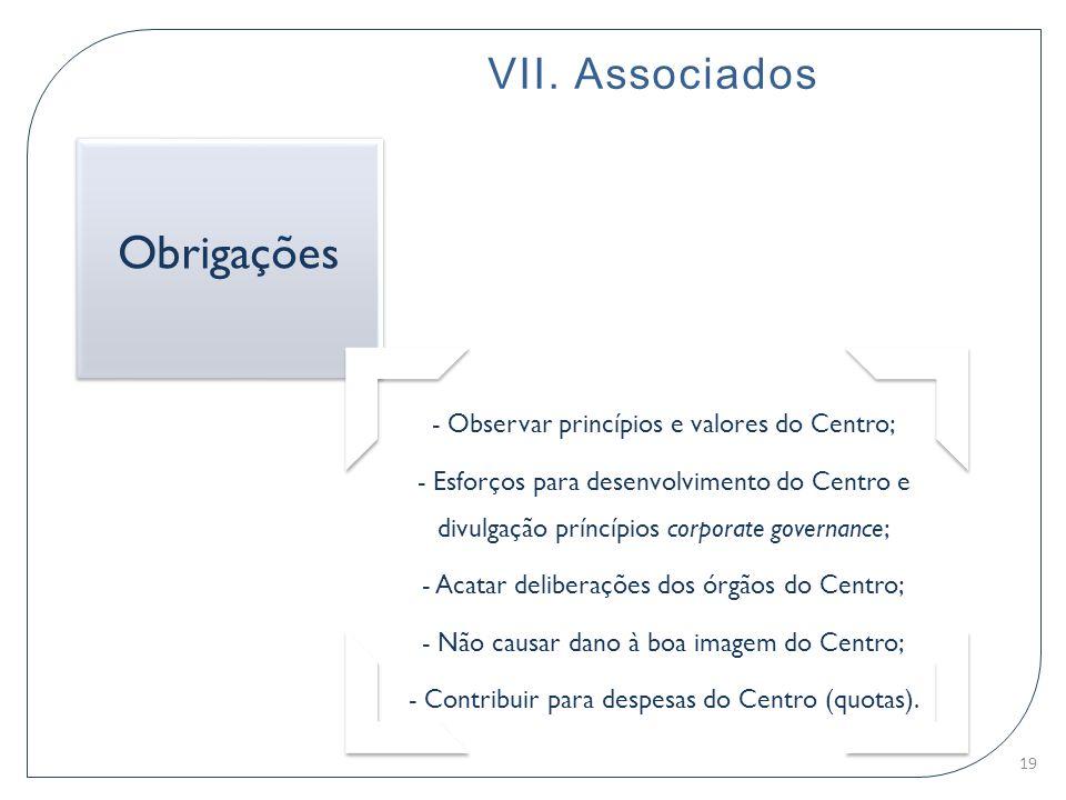 - Observar princípios e valores do Centro; - Esforços para desenvolvimento do Centro e divulgação príncípios corporate governance; - Acatar deliberaçõ