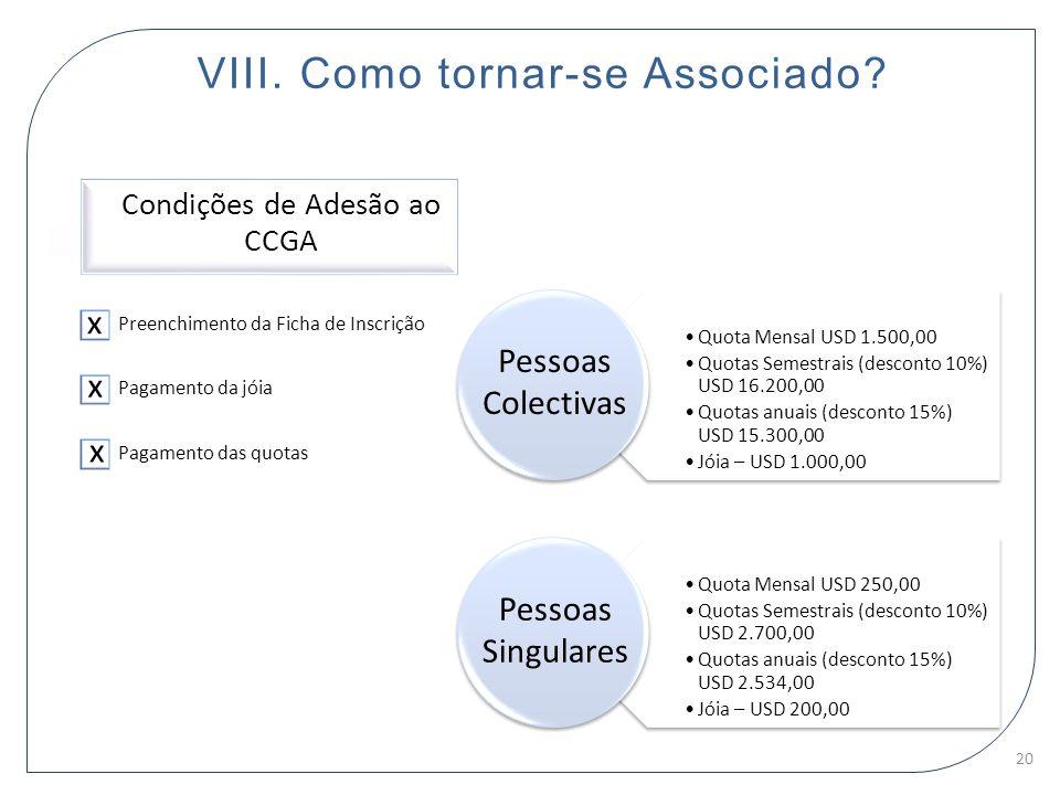 VIII. Como tornar-se Associado? Condições de Adesão ao CCGA Preenchimento da Ficha de Inscrição Pagamento da jóia Pagamento das quotas Quota Mensal US