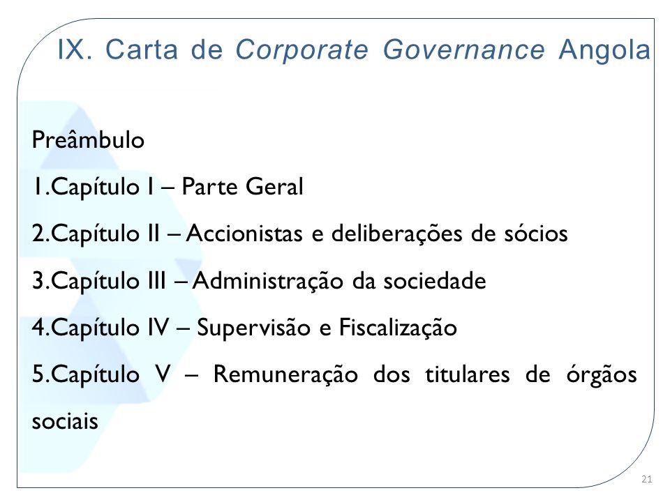 IX. Carta de Corporate Governance Angola Preâmbulo 1.Capítulo I – Parte Geral 2.Capítulo II – Accionistas e deliberações de sócios 3.Capítulo III – Ad