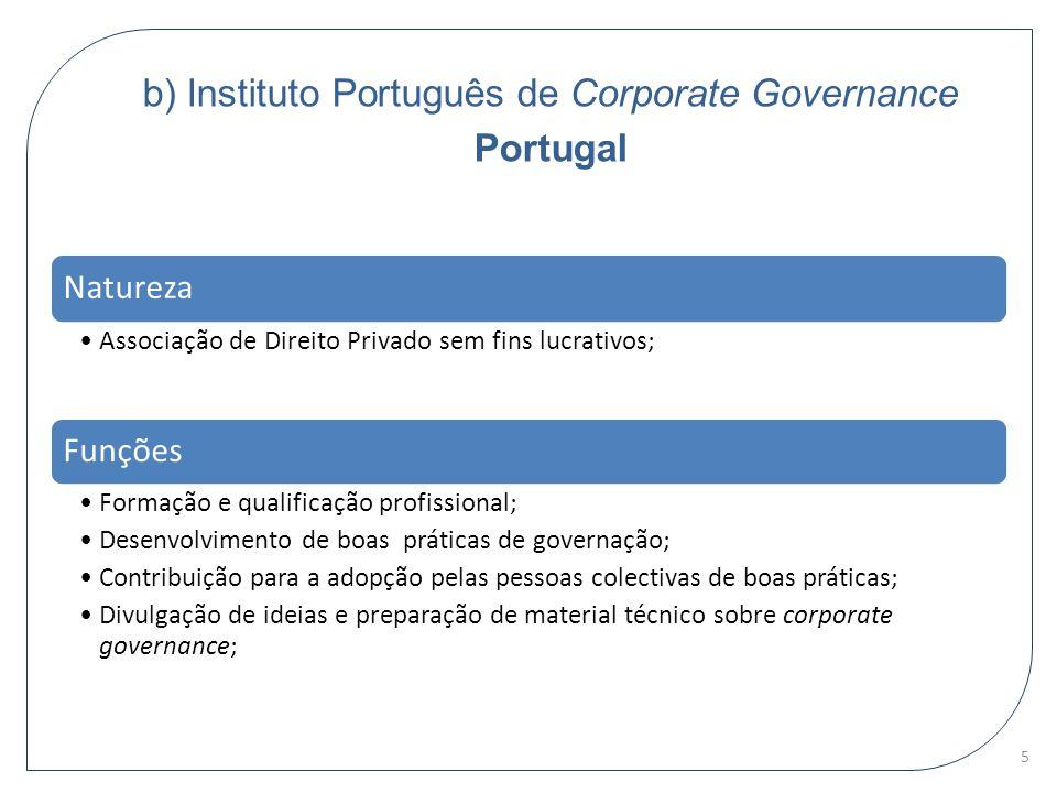 b) Instituto Português de Corporate Governance Portugal Natureza Associação de Direito Privado sem fins lucrativos; Funções Formação e qualificação pr