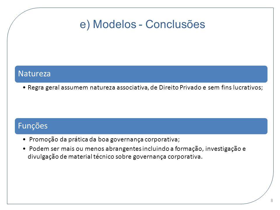 e) Modelos - Conclusões Natureza Regra geral assumem natureza associativa, de Direito Privado e sem fins lucrativos; Funções Promoção da prática da bo