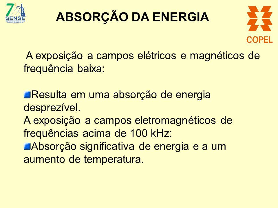 A exposição a campos elétricos e magnéticos de frequência baixa: Resulta em uma absorção de energia desprezível. A exposição a campos eletromagnéticos
