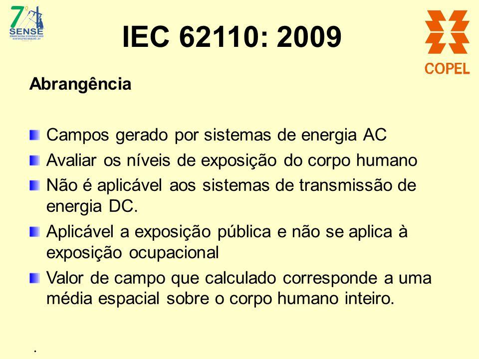 IEC 62110: 2009 Abrangência Campos gerado por sistemas de energia AC Avaliar os níveis de exposição do corpo humano Não é aplicável aos sistemas de tr