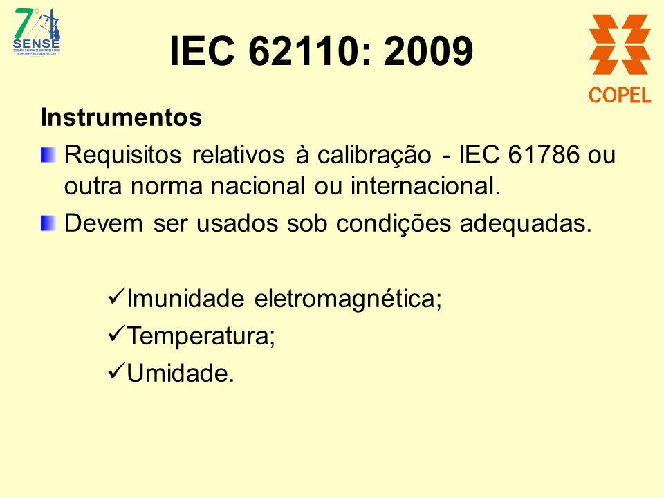 IEC 62110: 2009 Instrumentos Requisitos relativos à calibração - IEC 61786 ou outra norma nacional ou internacional. Devem ser usados sob condições ad