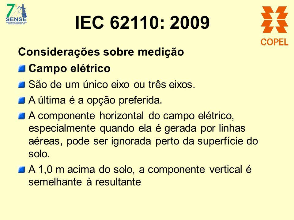 IEC 62110: 2009 Considerações sobre medição Campo elétrico São de um único eixo ou três eixos. A última é a opção preferida. A componente horizontal d