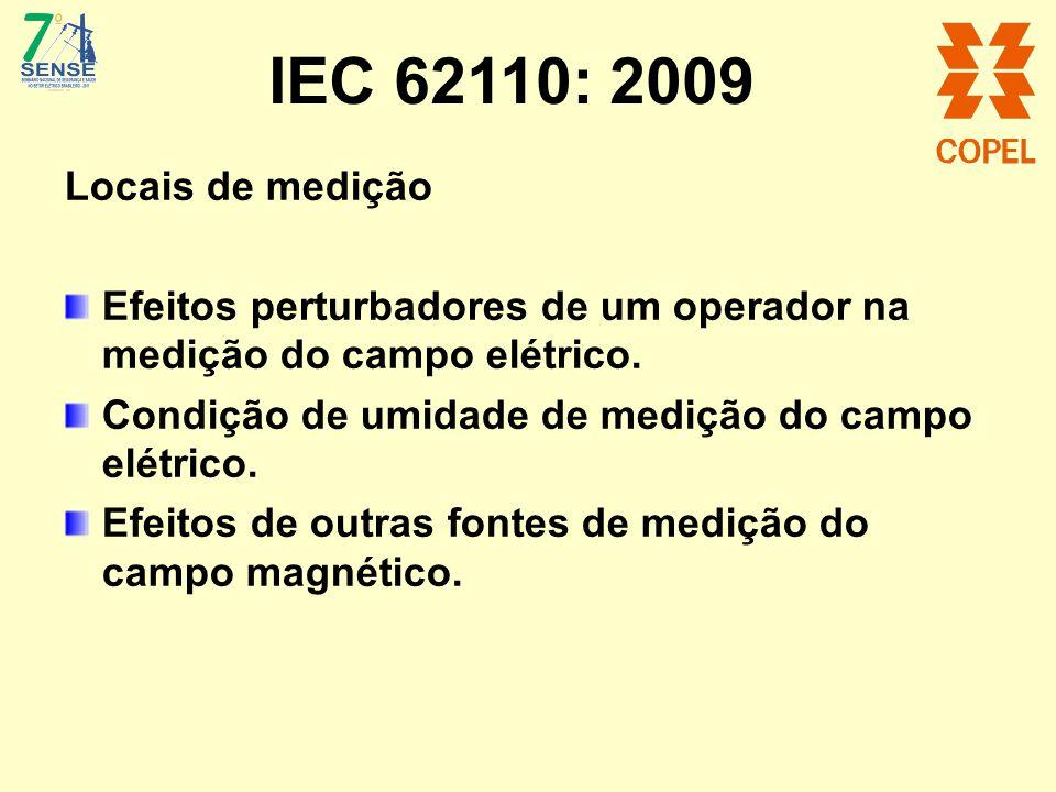 IEC 62110: 2009 Locais de medição Efeitos perturbadores de um operador na medição do campo elétrico. Condição de umidade de medição do campo elétrico.
