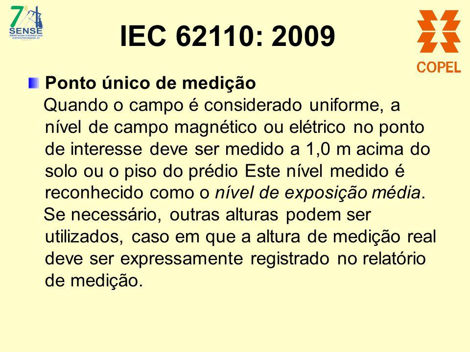 IEC 62110: 2009 Ponto único de medição Quando o campo é considerado uniforme, a nível de campo magnético ou elétrico no ponto de interesse deve ser me