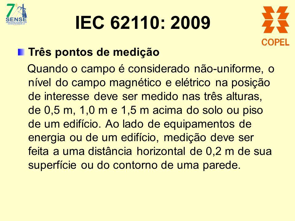 IEC 62110: 2009 Três pontos de medição Quando o campo é considerado não-uniforme, o nível do campo magnético e elétrico na posição de interesse deve s