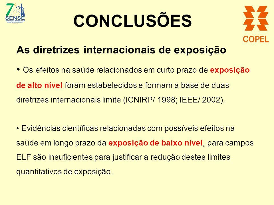 CONCLUSÕES As diretrizes internacionais de exposição Os efeitos na saúde relacionados em curto prazo de exposição de alto nível foram estabelecidos e