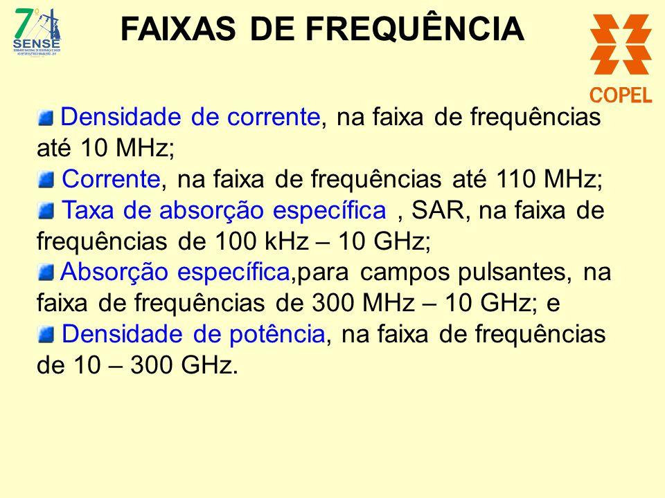 Densidade de corrente, na faixa de frequências até 10 MHz; Corrente, na faixa de frequências até 110 MHz; Taxa de absorção específica, SAR, na faixa d